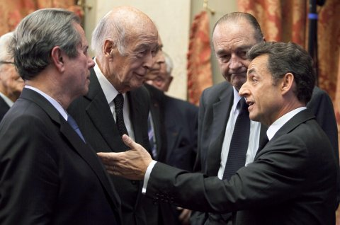 MM. Sarkozy, Chirac, Giscard d'Estaing et Debré au Conseil constitutionnel
